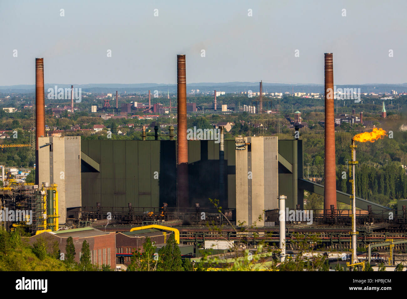 Coking plant Prosper in Bottrop, behind the coking plant Zollverein, in Essen, front roof of the ski hall Bottrop - Stock Image