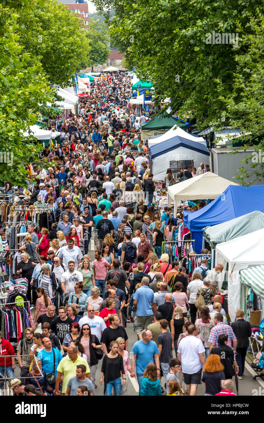 Large flea market, flea market in the summer festival on the Gruga Park, in Essen, Germany, Stock Photo