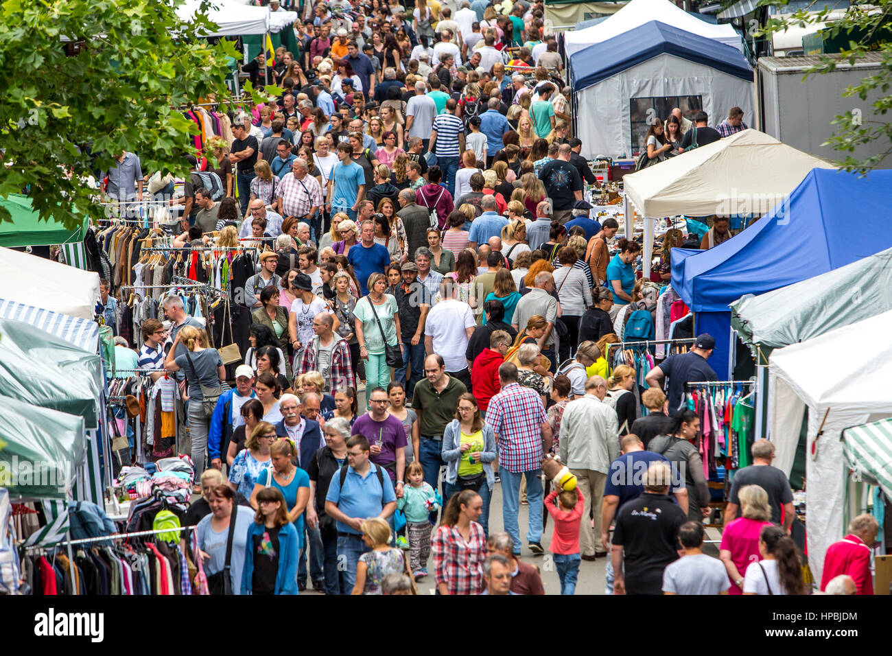 Large flea market, flea market in the summer festival on the Gruga Park, in Essen, Germany, Stock Photo