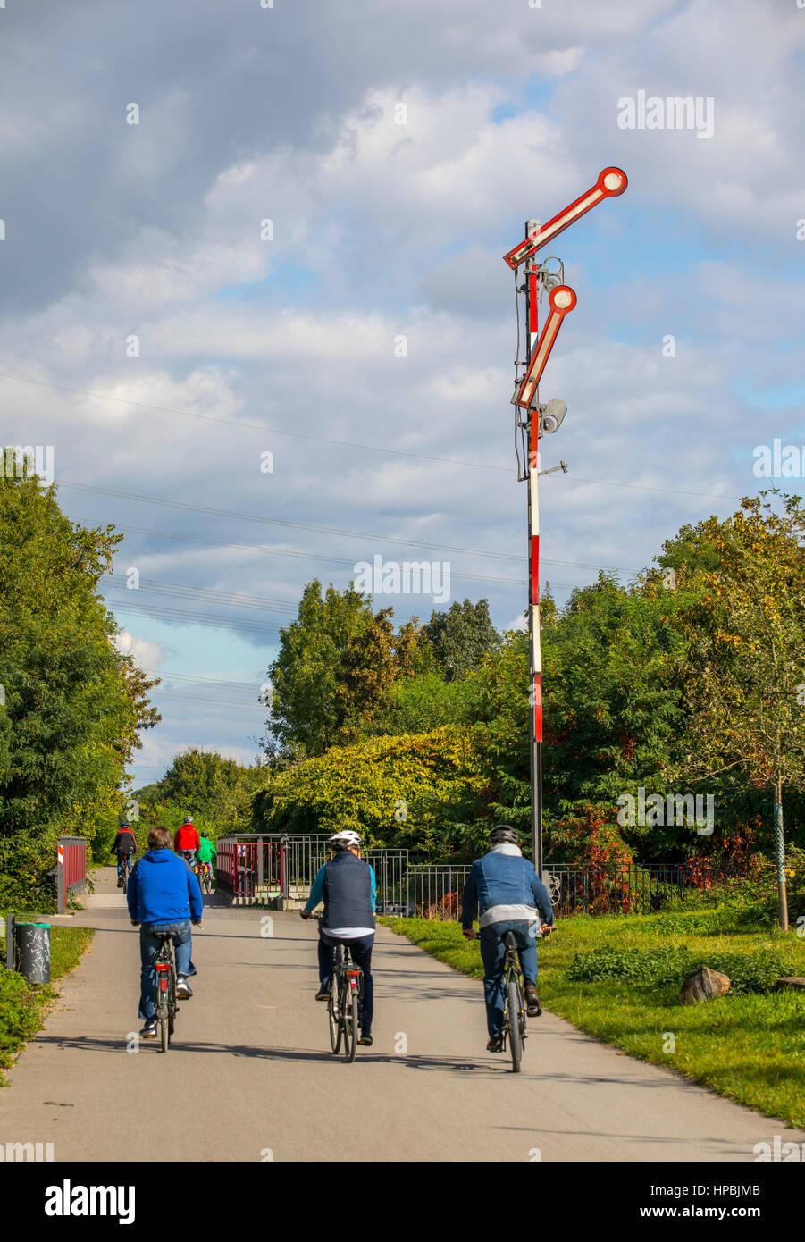 Cycling along the Rheinische Bahn, Essen, part of the Radschnellweg Ruhr RS1, bike highway through the Ruhr area, - Stock Image