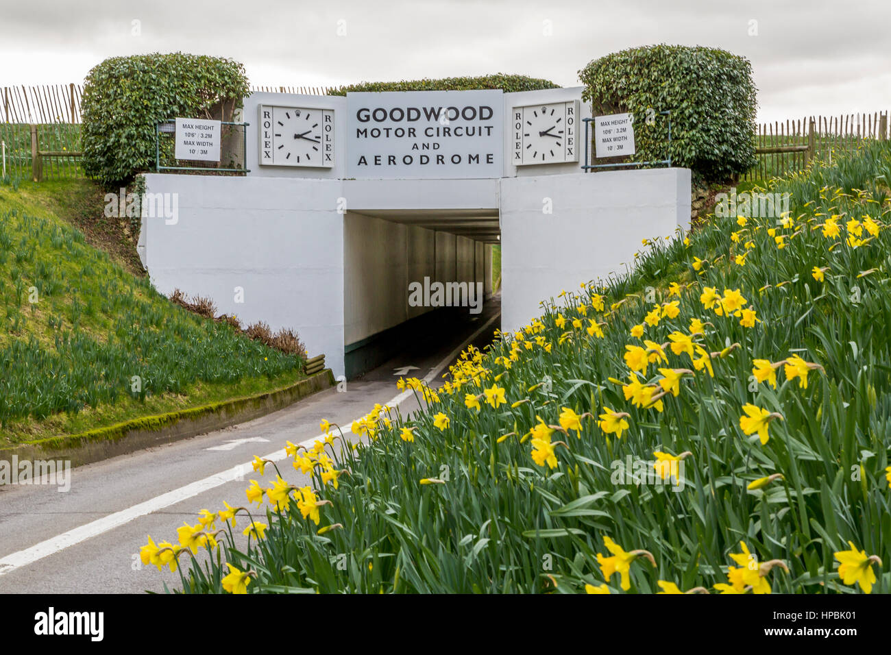 Goodwood motor racing circuit tunnel entrance, West Sussex, England UK - Stock Image