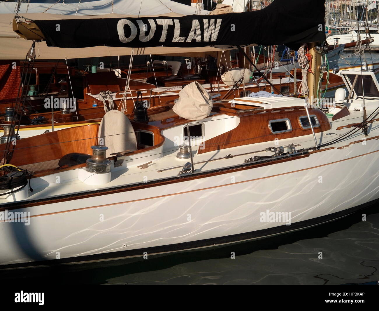 AJAXNETPHOTO. 4TH OCTOBER, 2016. CANNES, FRANCE. - RACE YACHT - THE YACHT OUTLAW DESIGNED BY ILLINGWORTH AND PRIMROSE - Stock Image