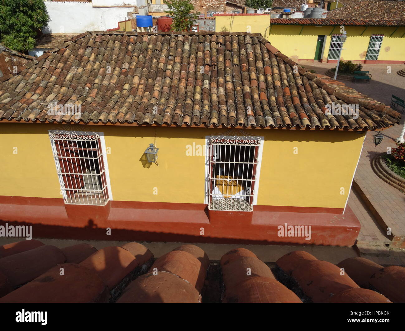 Trinidad,Cuba view from above, rooftops and colourful old colonial buildings - Stock Image
