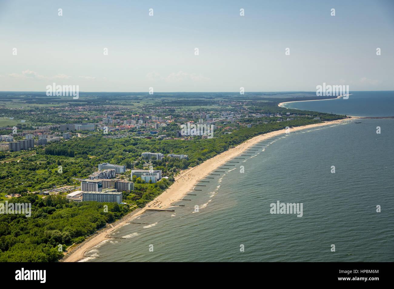 Sandstrand, beach baskets, Kołobrzeg, East seaside, holiday region, Województwo zachodniopomorskie, Poland - Stock Image