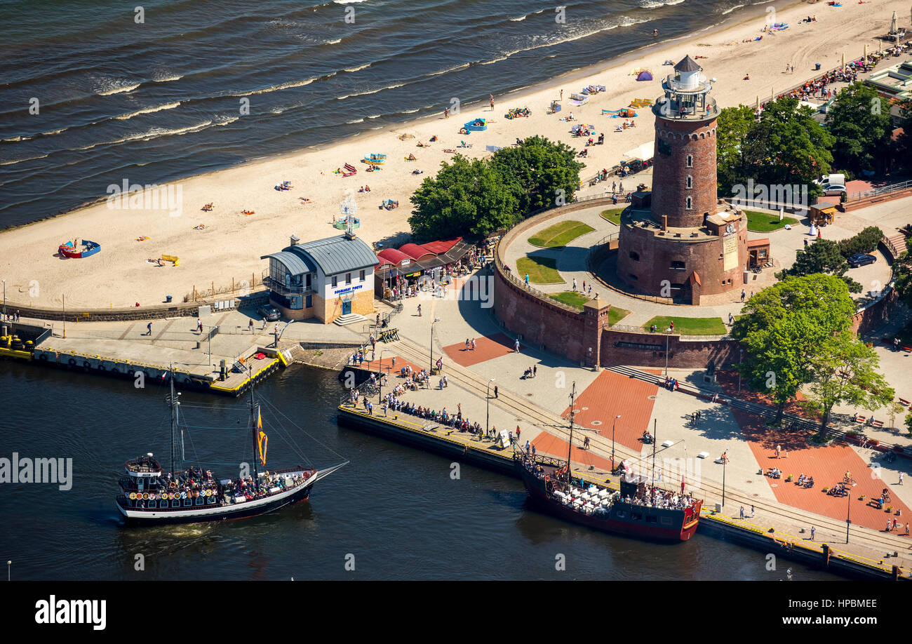 Kołobrzeg, Kolberg, lighthouse with bastion, Baltic sea beach, Kolobrzeg, Baltic Sea coast, Województwo zachodniopomorskie, - Stock Image