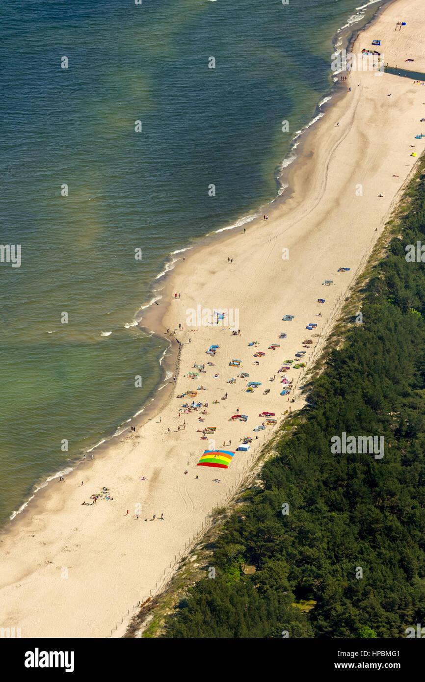 Bathing, Niechorze, Horst seaside resort, beach, Baltic Sea beach, Baltic Sea coast, Województwo zachodniopomorskie, - Stock Image
