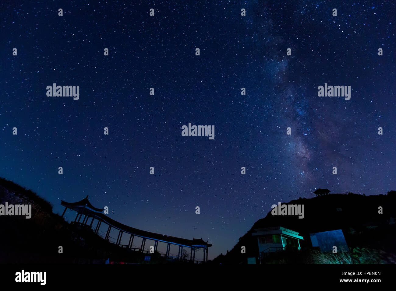 Milky Way over the mountain - Stock Image