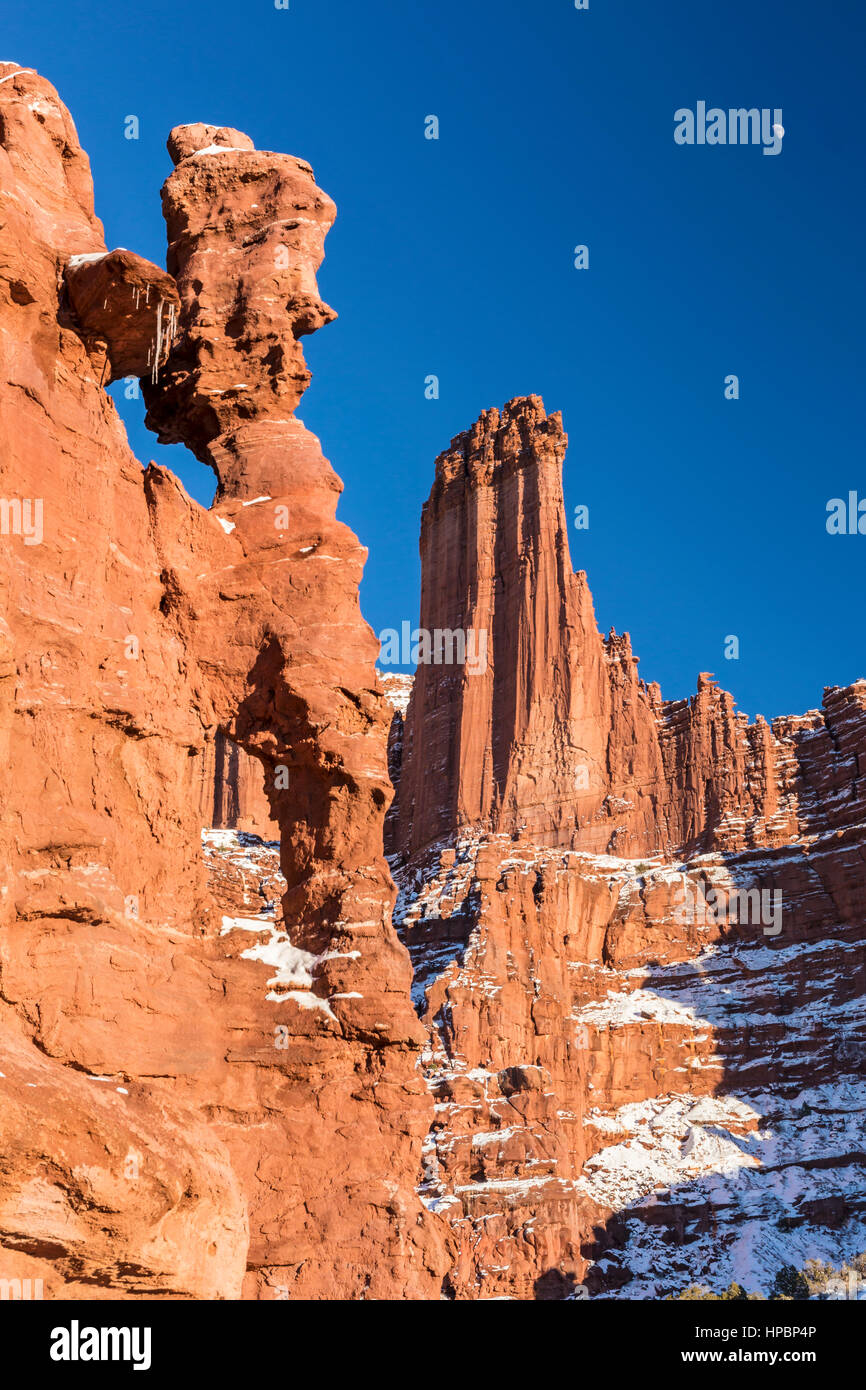 The Titan Tower and jug handle windows, part of the Fisher Towers rock formations near Moab, Utah - Stock Image