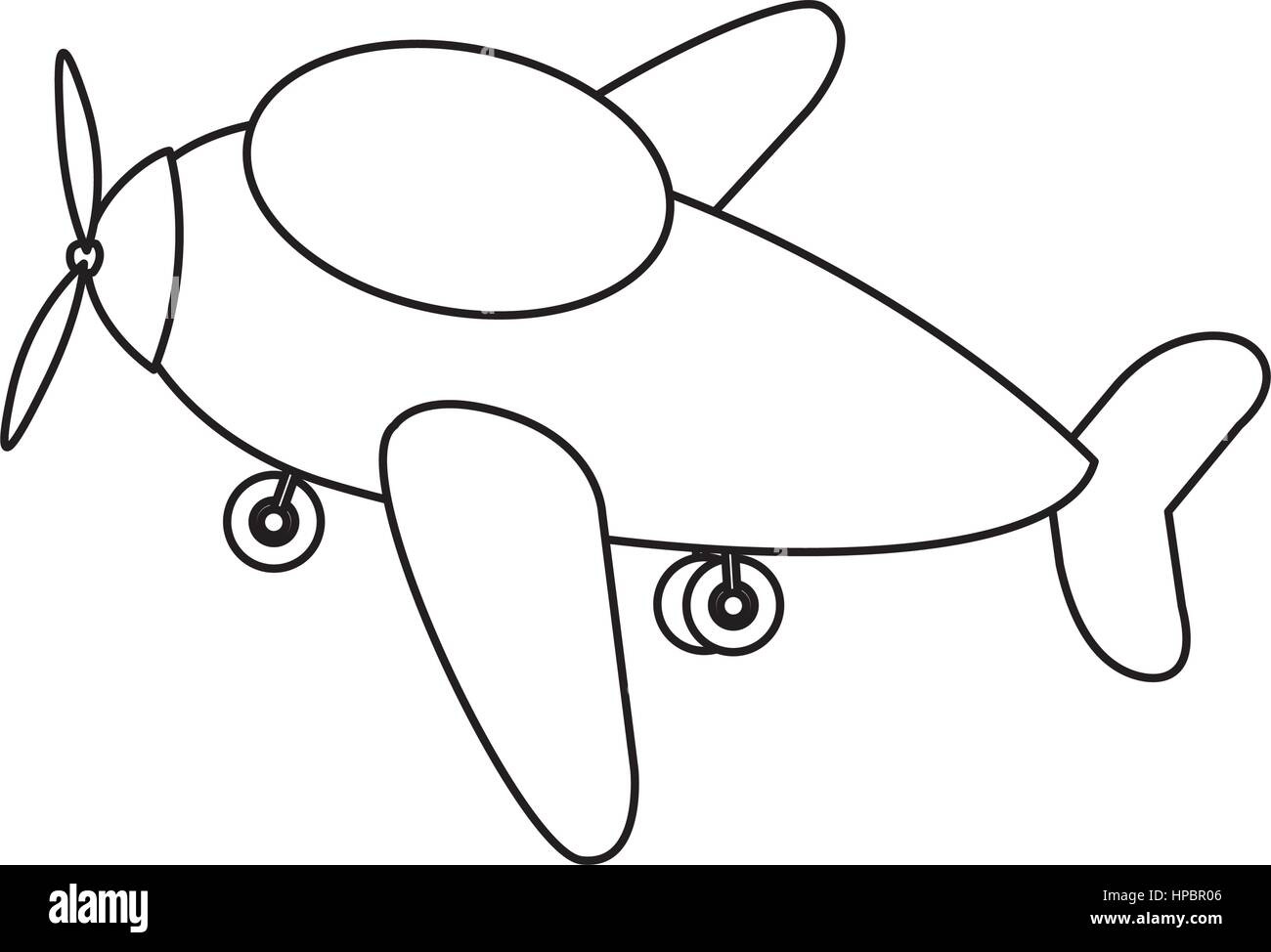 contour toy airplane fly icon - Stock Image
