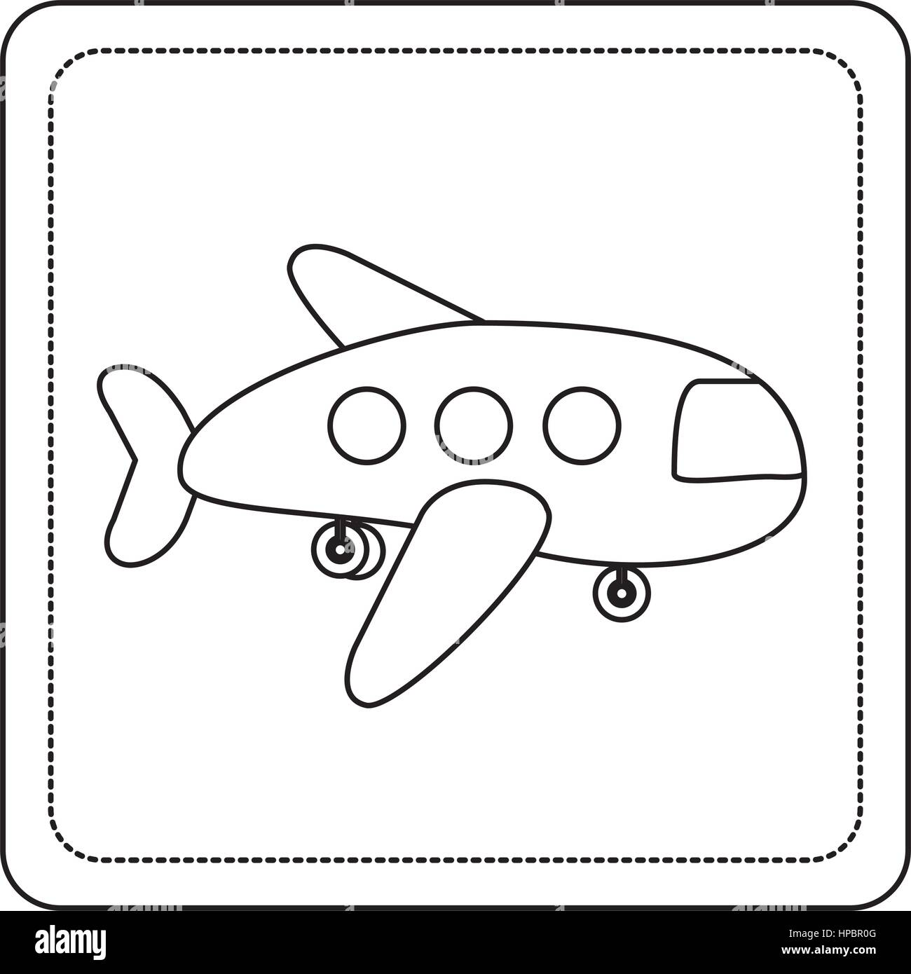 contour toy airplane fly picture icon - Stock Image