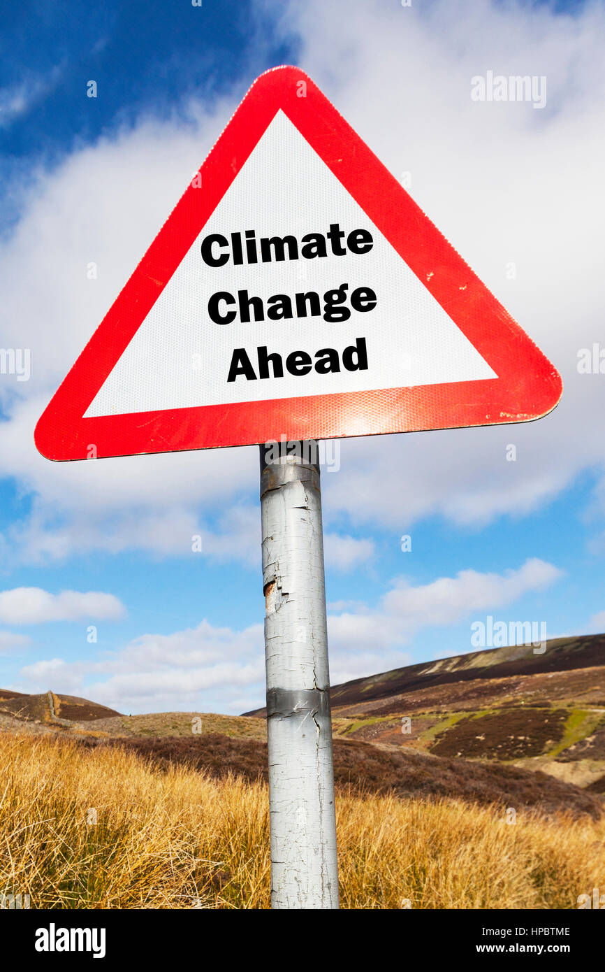 Climate change ahead changing climate getting warmer rising oceans melting ice caps changing weather concept sign - Stock Image