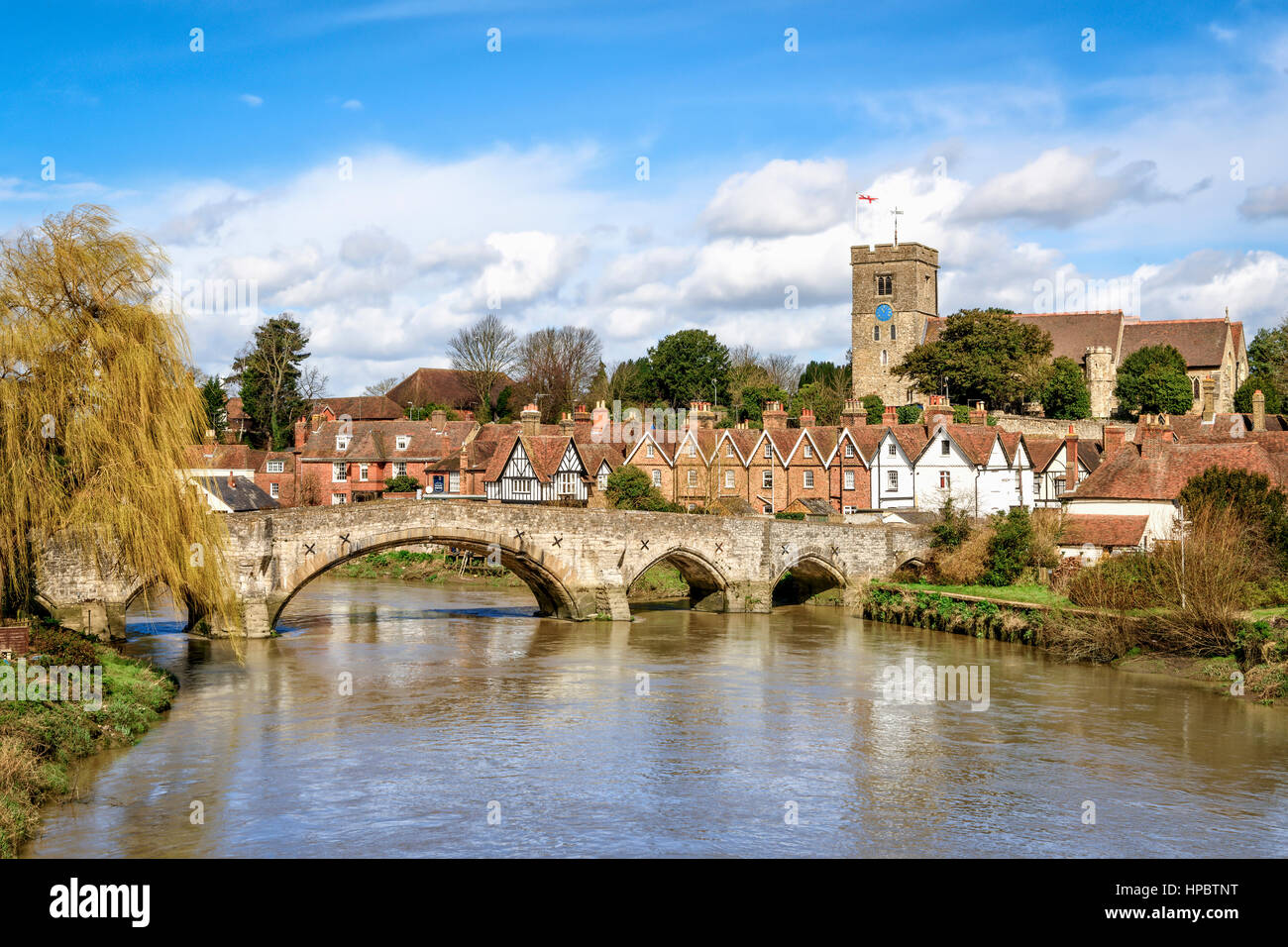 Aylesford, United Kingdom - March 29th, 2016: View of Aylesford village in Kent, England with medieval bridge and - Stock Image