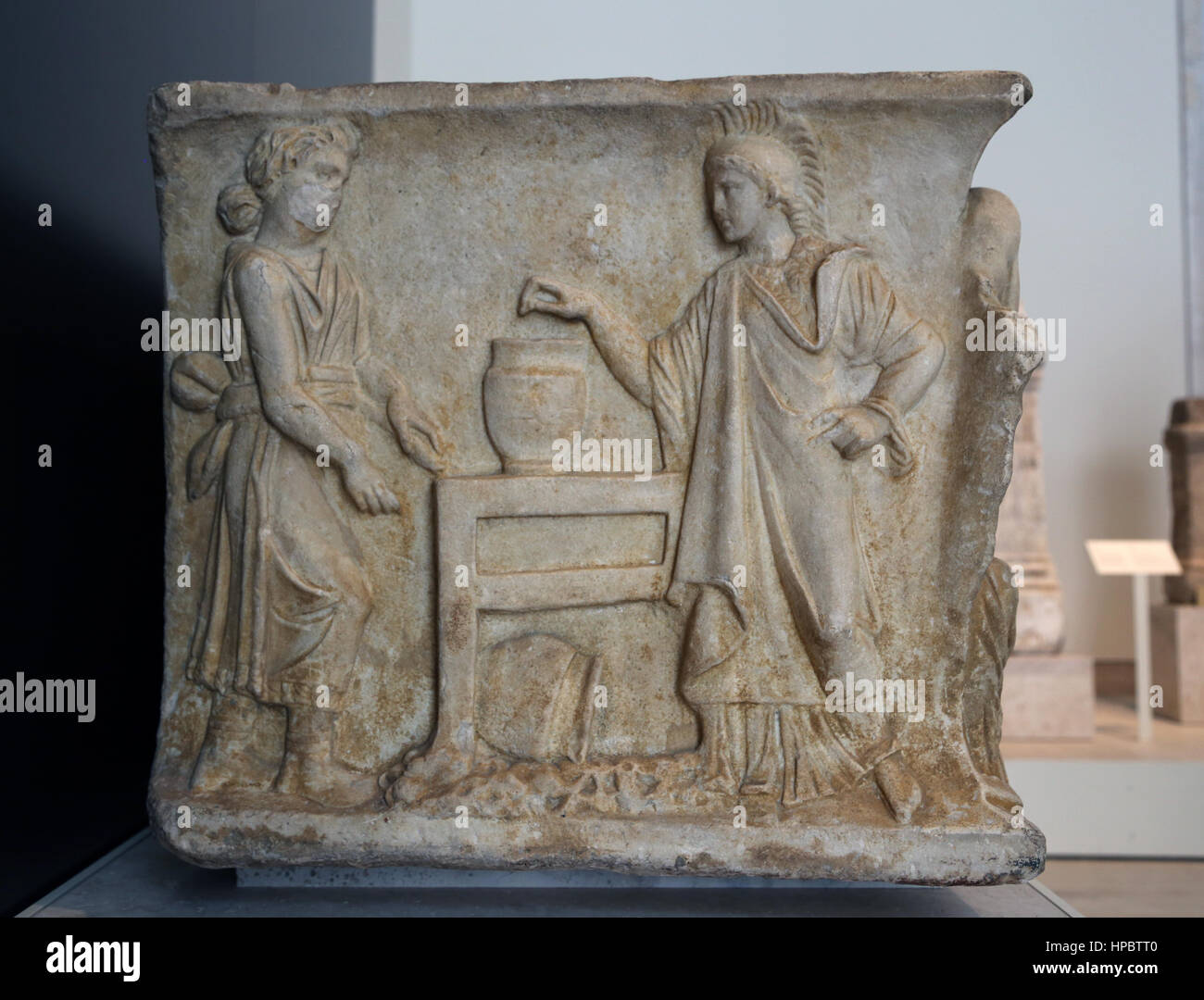Husillos sarcophagus. 2nd century Ad. Roman. Legend of Orestes. Judgment. Athena voting. Husillos, Palencia, Spain. - Stock Image