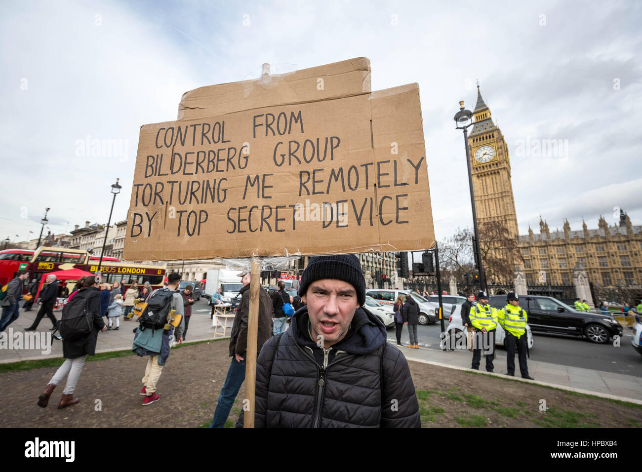London, UK. 20th February, 2017. A conspiracy theorist in the crowds during the anti-trump protests. Anti-Trump - Stock Image