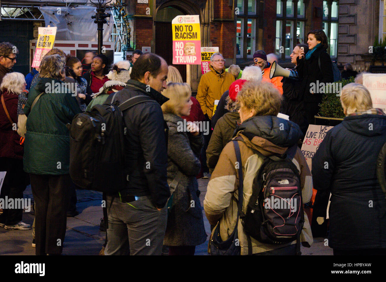 York, England, 20th February 2017, Stand up to Racism and Anti-Trump Rally, People protesting Donald Trump's - Stock Image