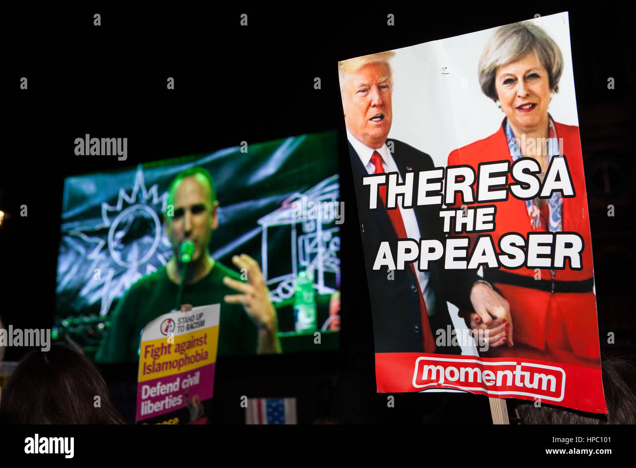 London, UK. 20th Feb, 2017. A speaker at an Anti Trump demonstration at Parliament Square. Protesters objected to - Stock Image