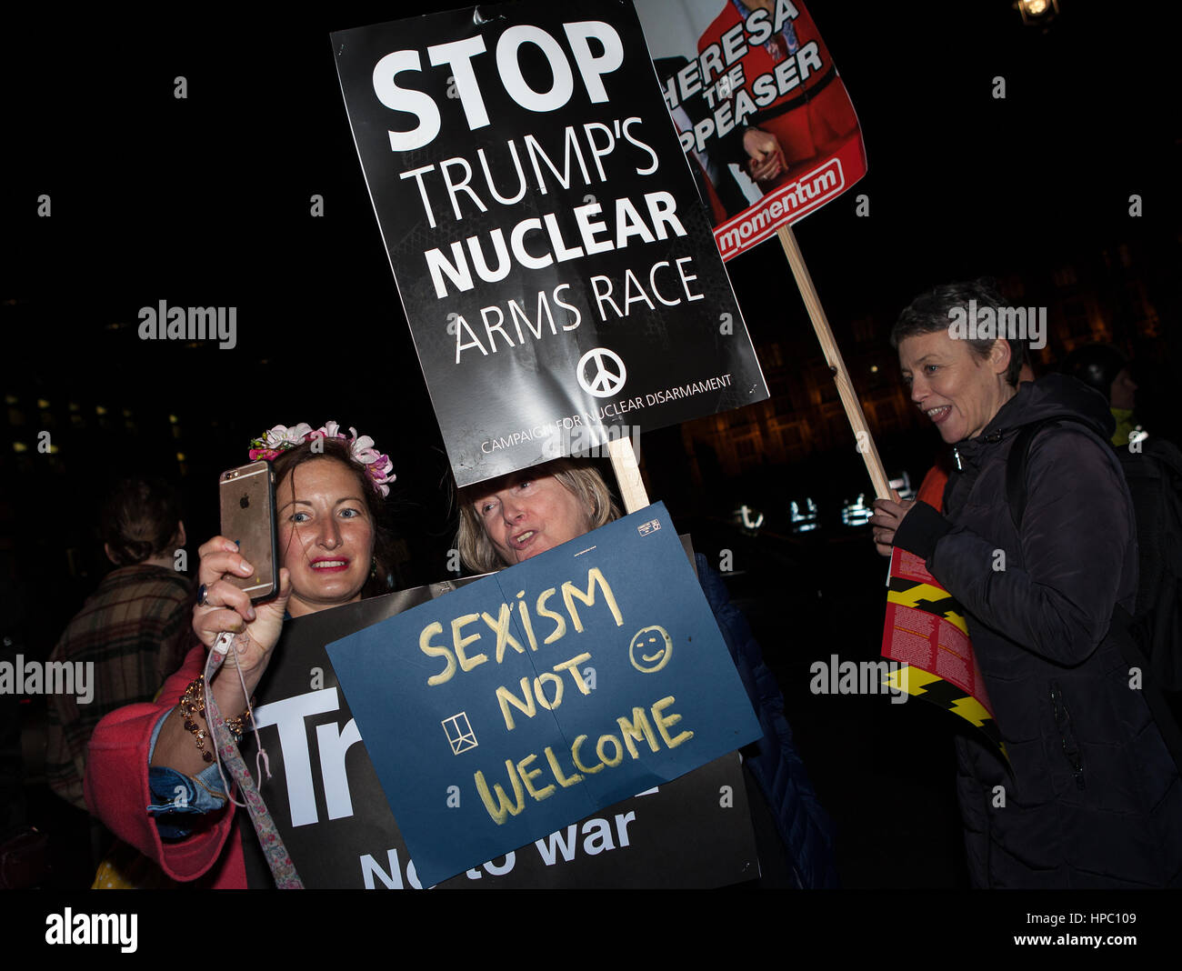 London, UK. 20th Feb, 2017. Anti Trump protesters with placards at a demonstration at Parliament Square and Whitehall. - Stock Image
