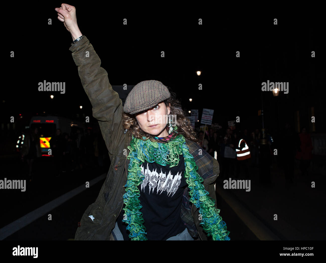 London, UK. 20th Feb, 2017. An anti Trump protester at demonstration at Parliament Square and Whitehall. Protesters - Stock Image