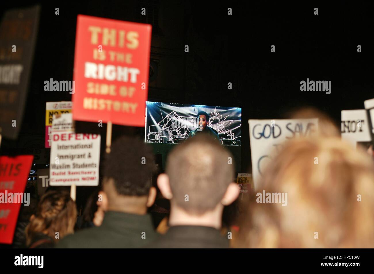 London, UK. 20th Feb, 2017. Protesters in Parliament Square opposing The Lords Discussion on the State Visit of - Stock Image