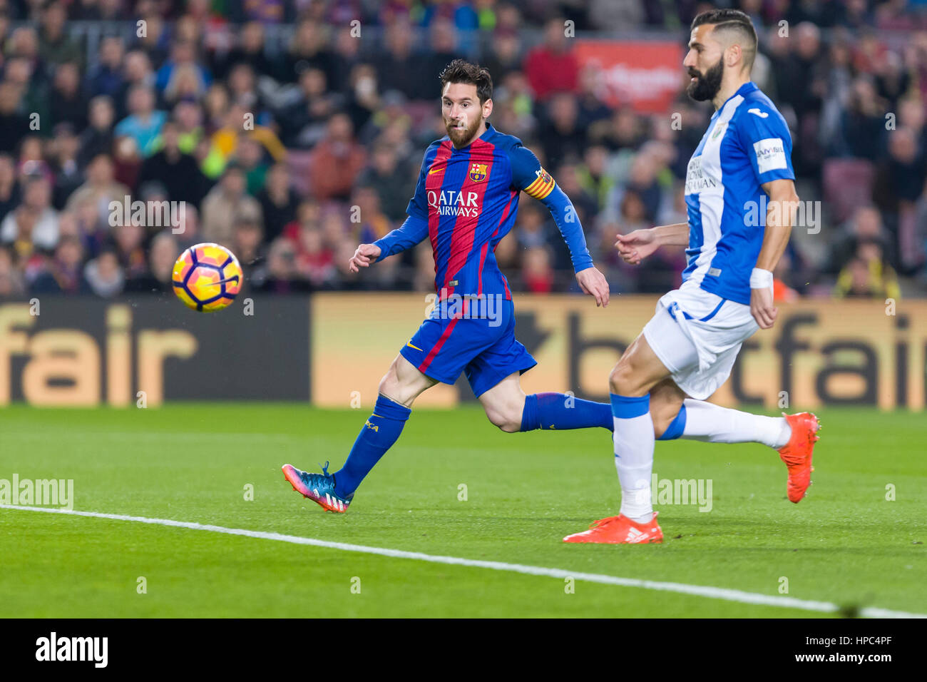 February 19, 2017: Leo Messi during the match between FC Barcelona vs Leganes, for the round 21 of the Liga Santander, - Stock Image