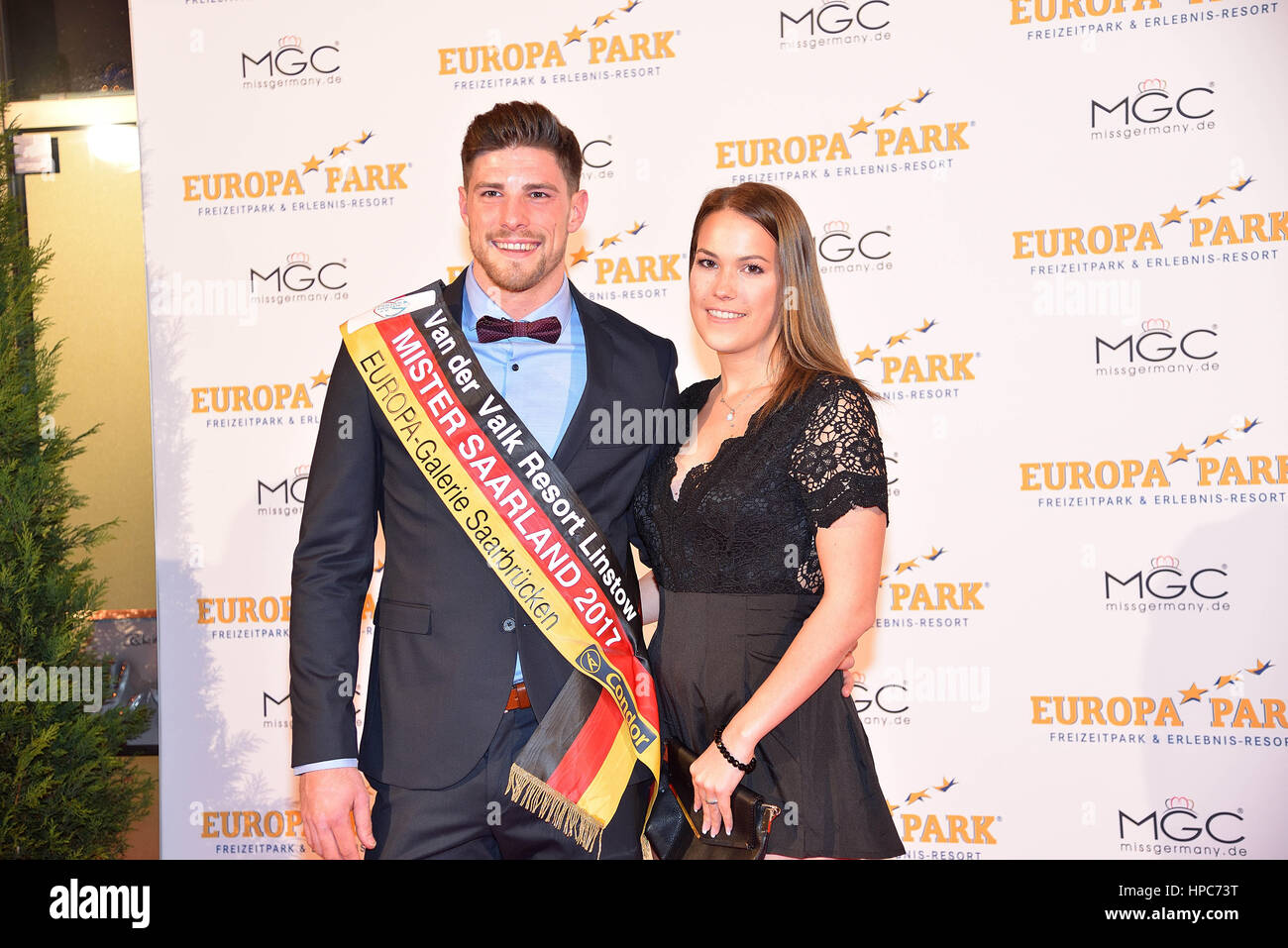 February 18, 2017 - Miss Germany 2016, Lena Bröder, has passed her crown to the newly elected Miss Germany - Stock Image