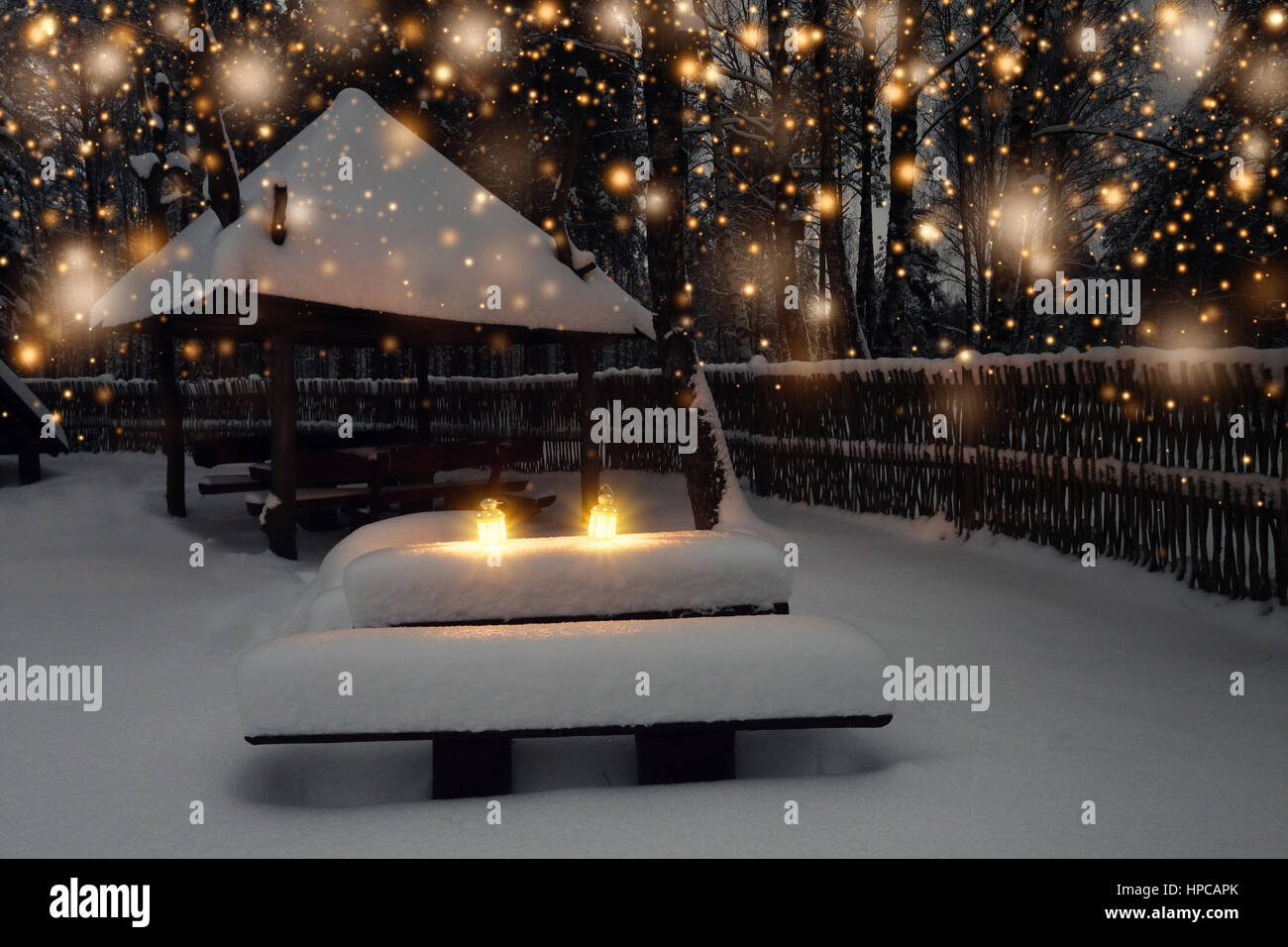 Christmas Lights On Winter Night Background Snowy Landscape Xmas Snowfall In Park