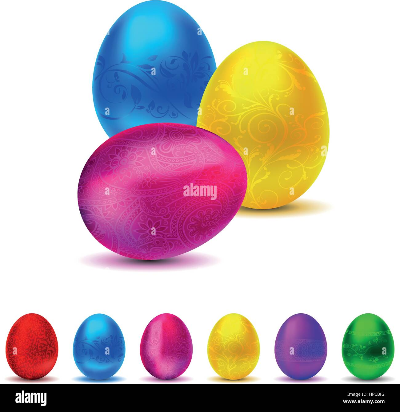 Metallic decorated Easter Egg collection - 6 colors - Stock Vector