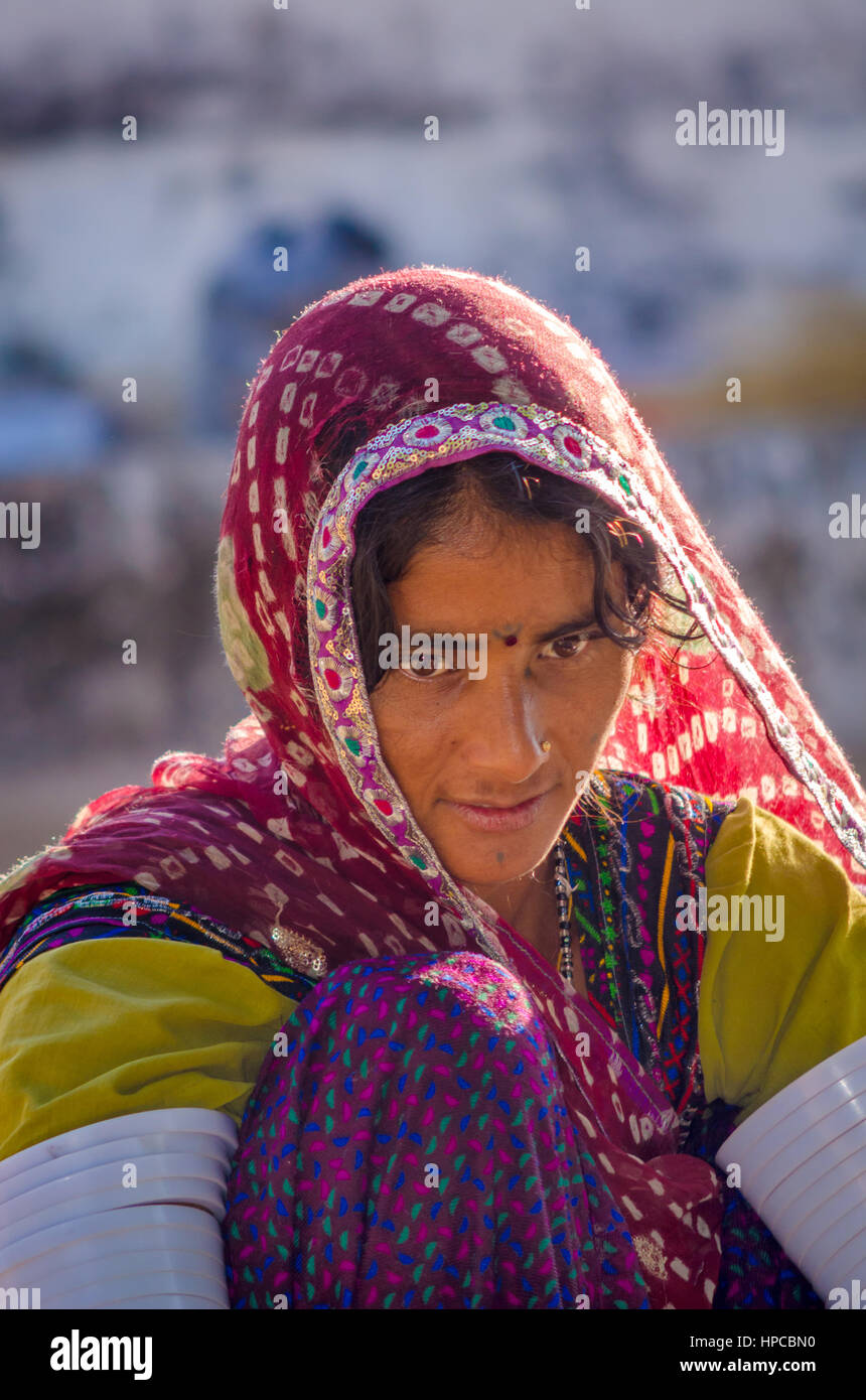 RAJASTHAN, INDIA - NOVEMBER 20, 2016: Closeup of an unidentified beautiful Rajasthani woman wearing traditional Stock Photo