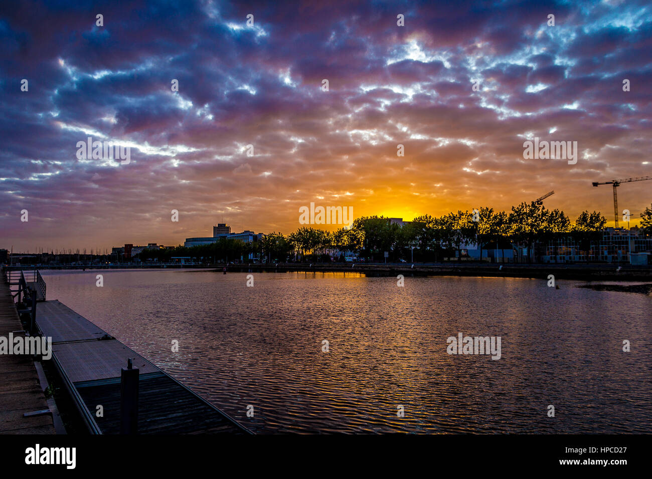 Sunset at the marina of Le Havre, Normandy, France - Stock Image