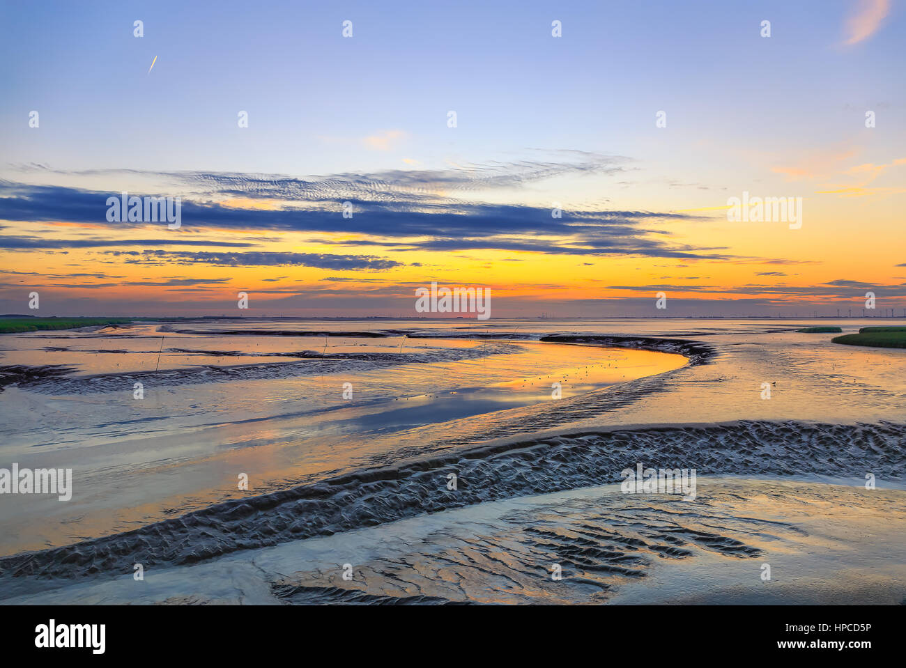 The Dollart, a bay in the wadden sea between the northern Netherlands and Germany Stock Photo