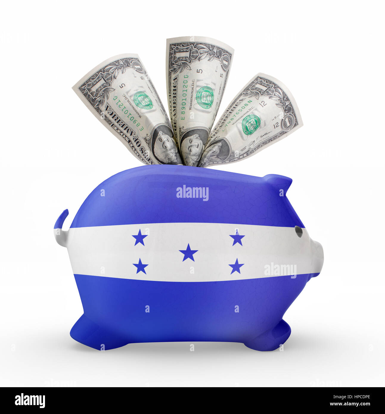 Side view of a piggy bank with the flag design of Honduras.(series) Stock Photo