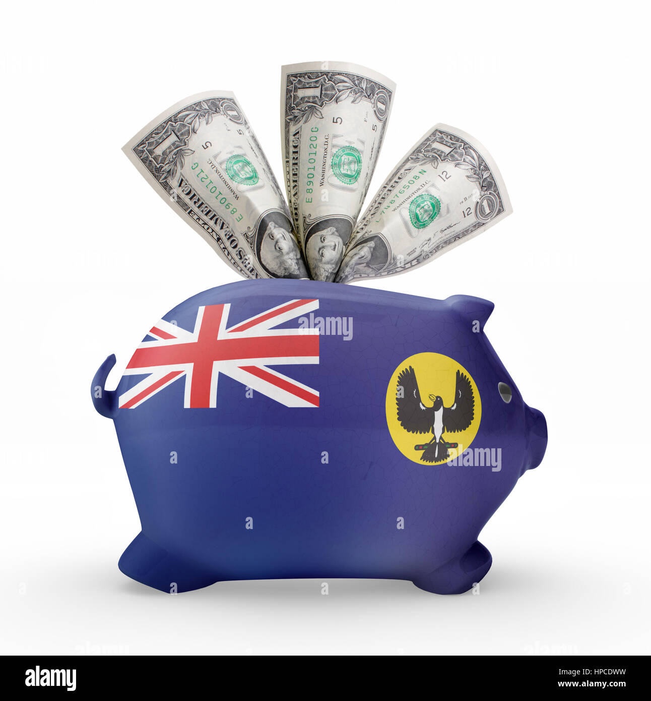Side view of a piggy bank with the flag design of South Australia.(series) - Stock Image