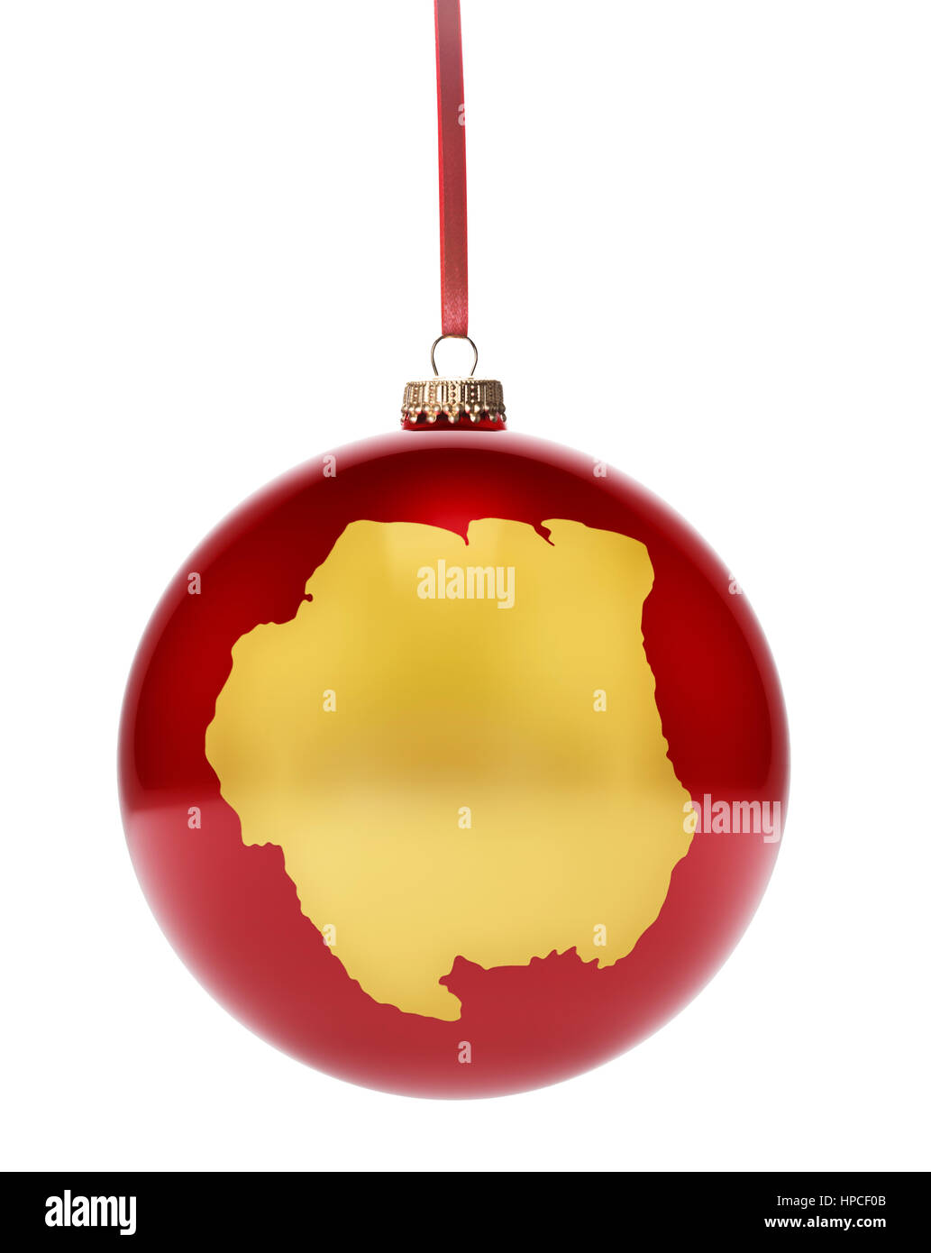 A hanging glossy red bauble with the golden shape of Suriname.(series) - Stock Image