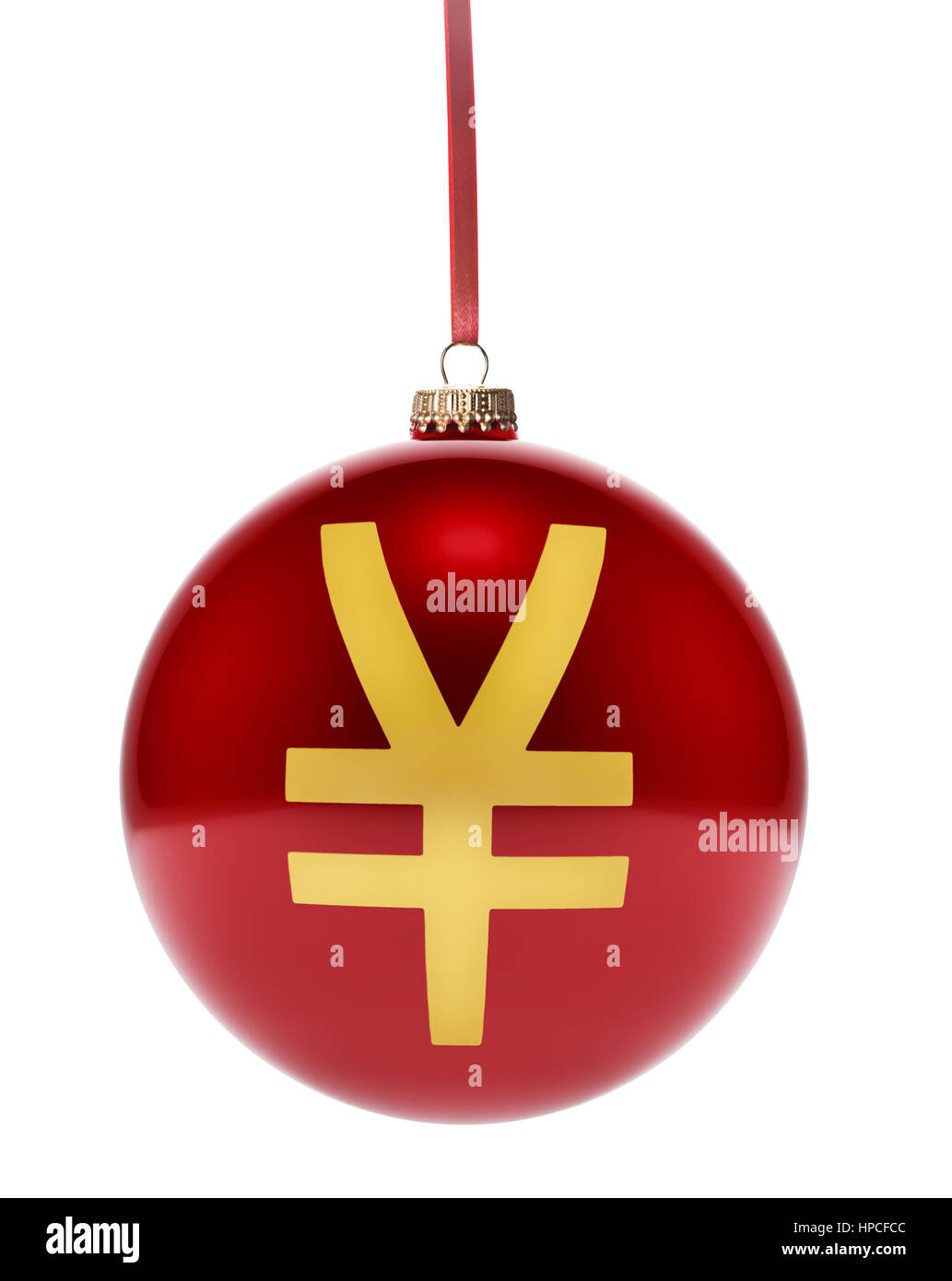 A hanging glossy red bauble with the golden shape of a Yen symbol.(3D illustration) - Stock Image