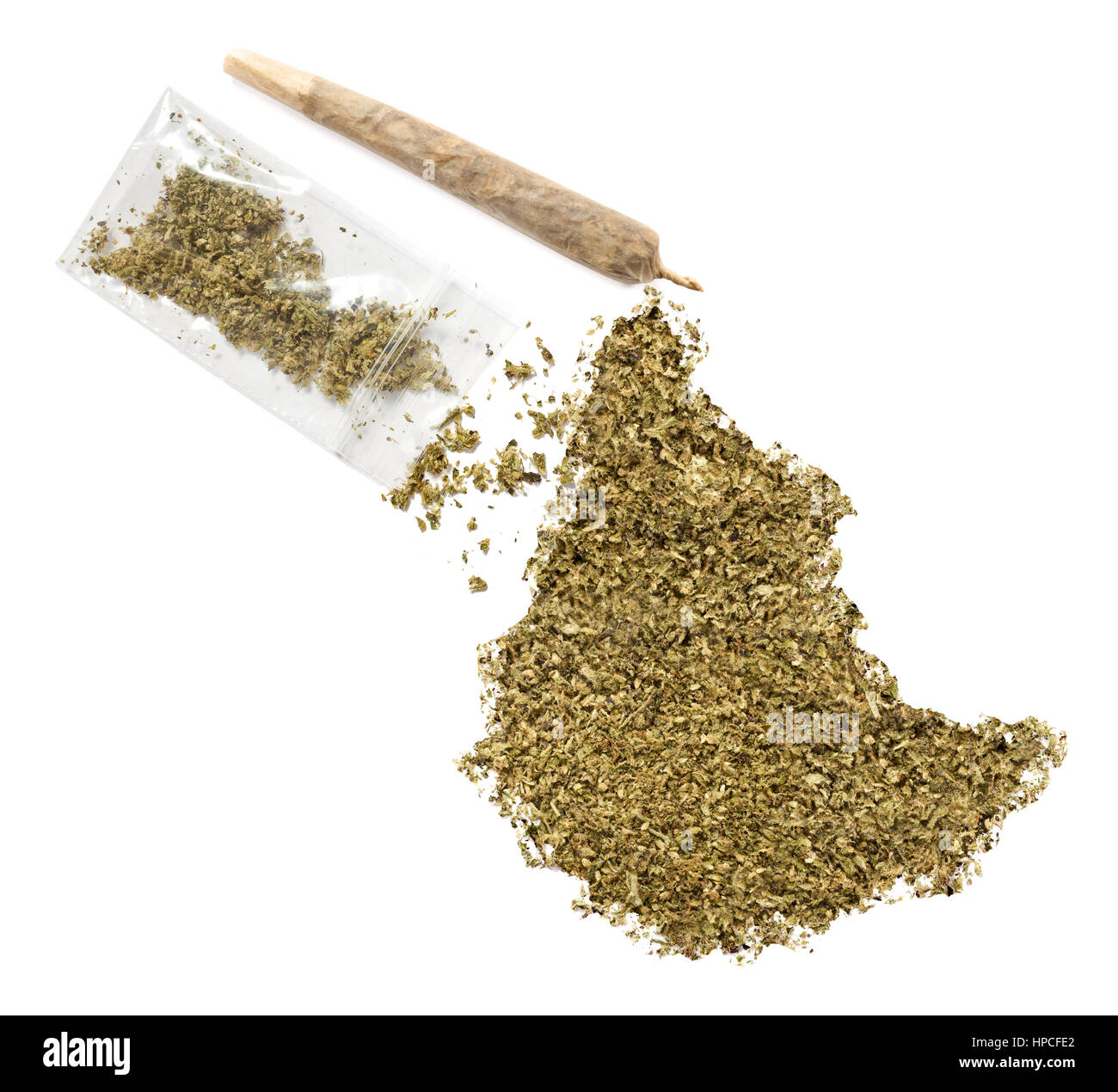Grinded weed shaped as Ethiopia and a joint.(series) - Stock Image