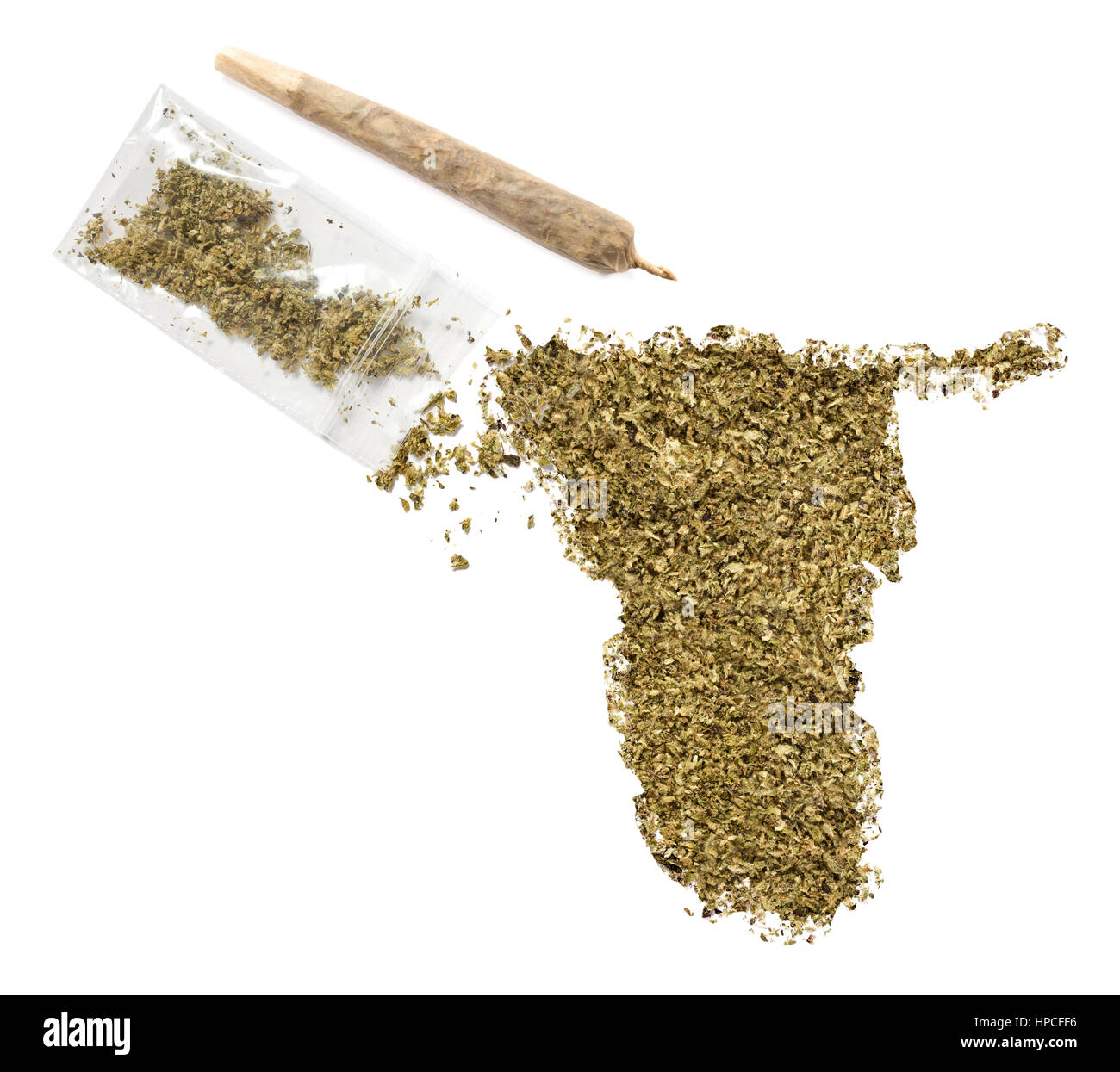 Grinded weed shaped as Namibia and a joint.(series) - Stock Image