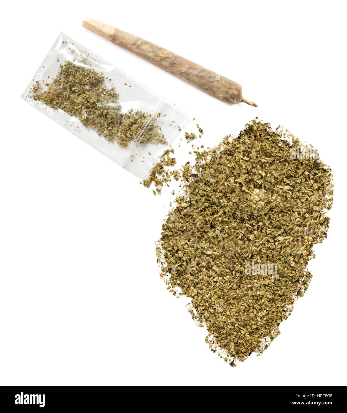 Grinded weed shaped as Swaziland and a joint.(series) Stock Photo