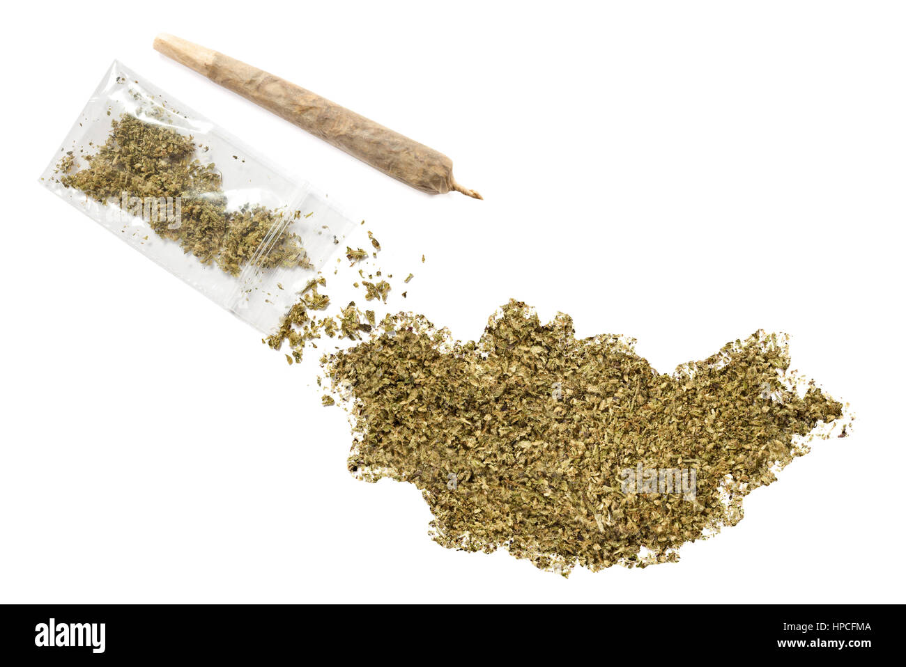 Grinded weed shaped as Mongolia and a joint.(series) - Stock Image