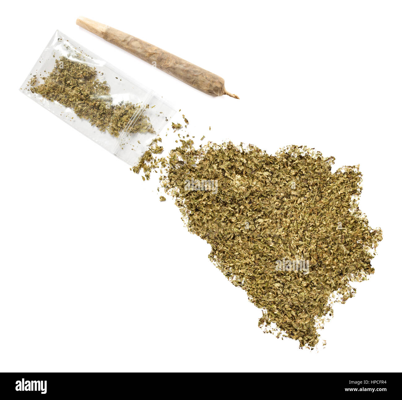 Grinded weed shaped as Bosnia and Herzegovina and a joint.(series) - Stock Image