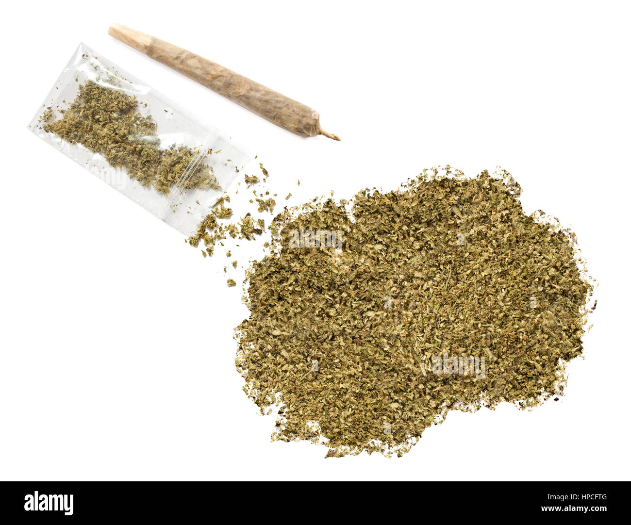 Grinded weed shaped as Macedonia and a joint.(series) - Stock Image