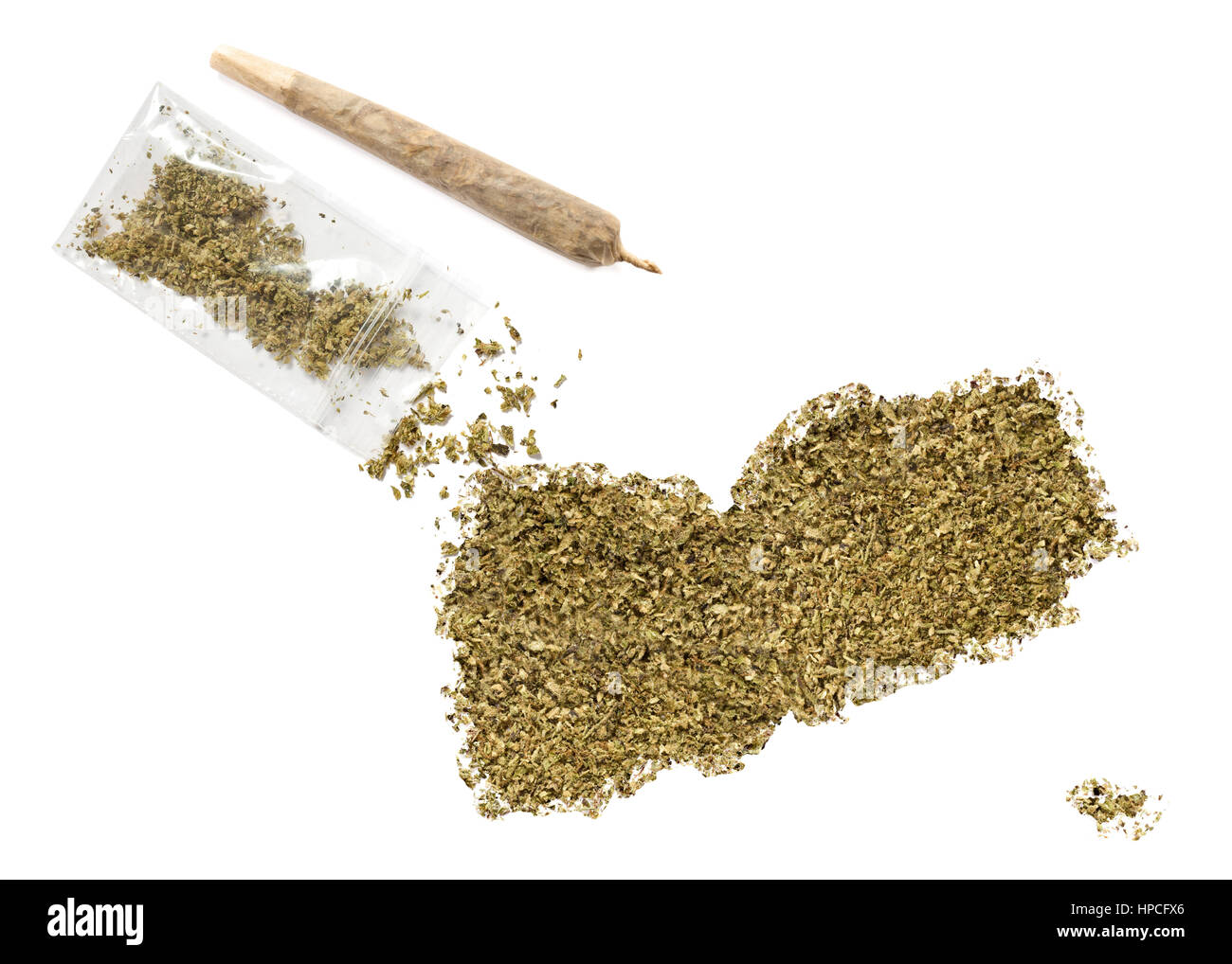 Grinded weed shaped as Yemen and a joint.(series) Stock Photo