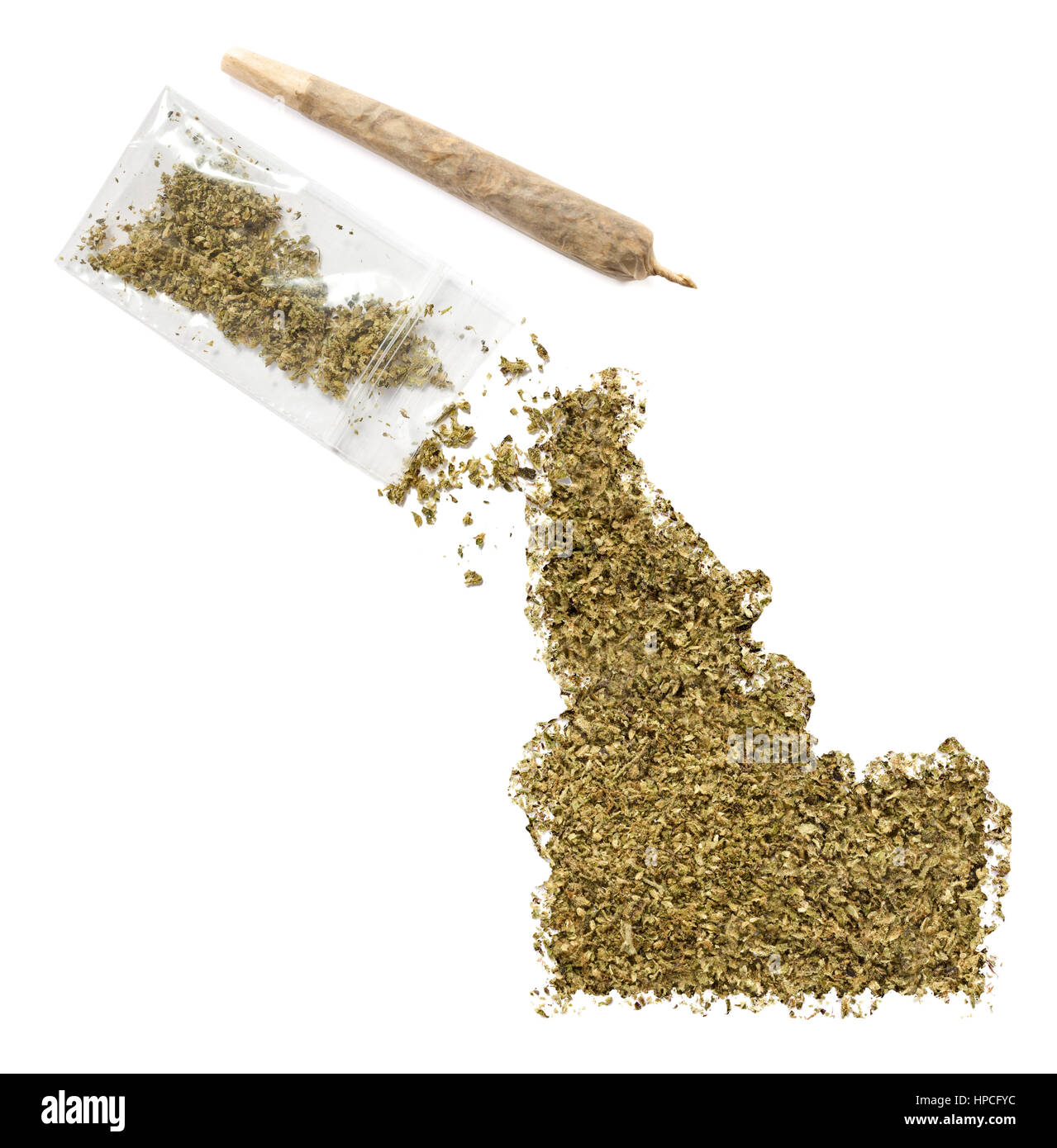 Grinded weed shaped as Idaho and a joint.(series) - Stock Image