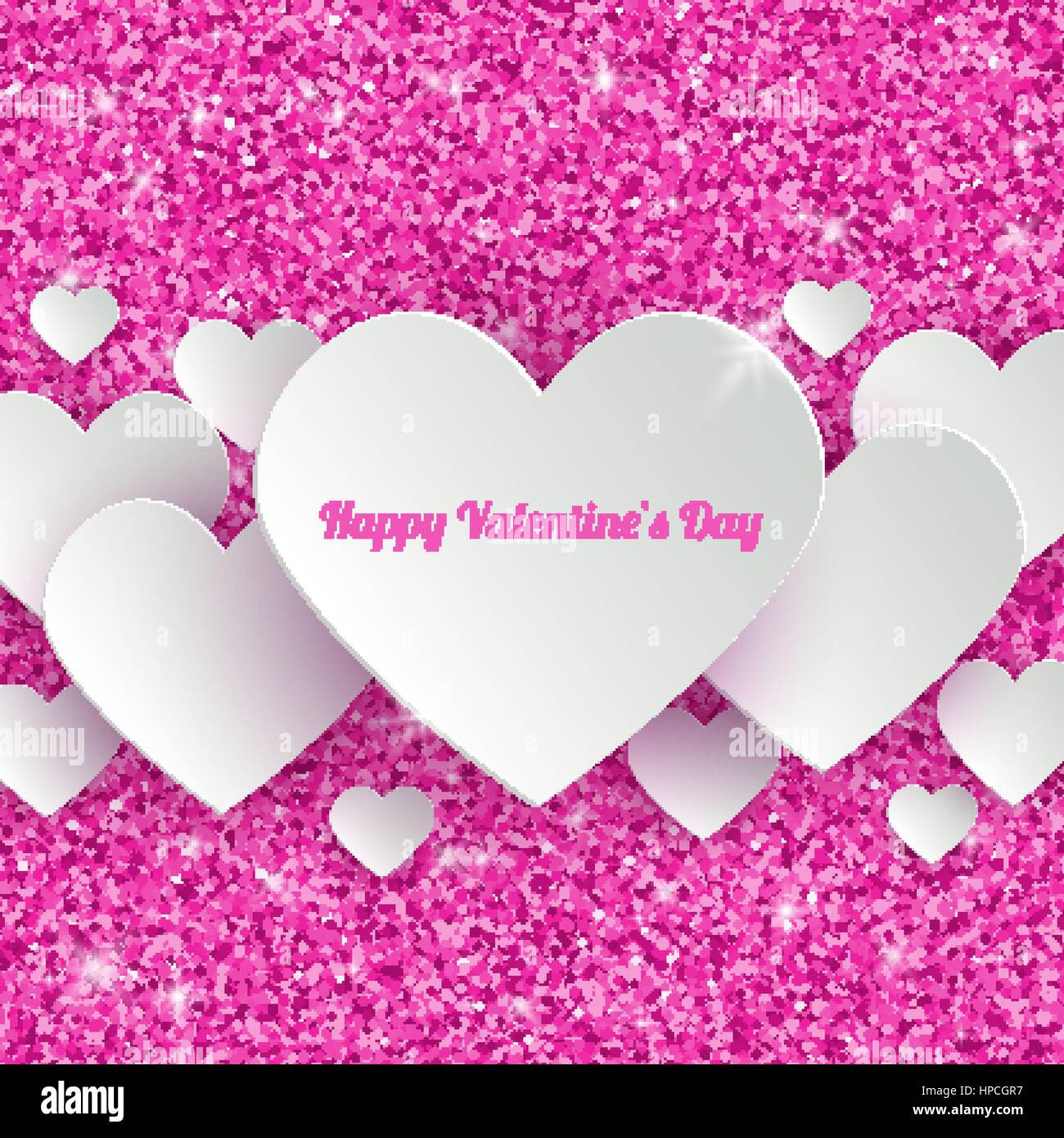 Happy Valentines Day Greeting Card With 3d White Paper Hearts On