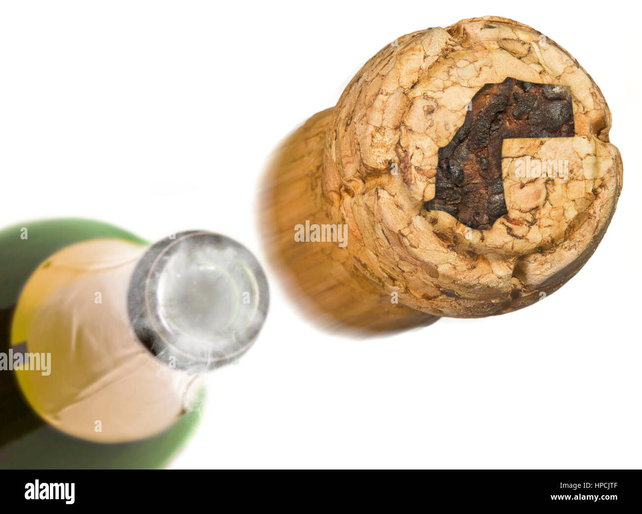 Champagne cork with the shape of Western Sahara burnt in and bottle of champagne in the back.(series) - Stock Image