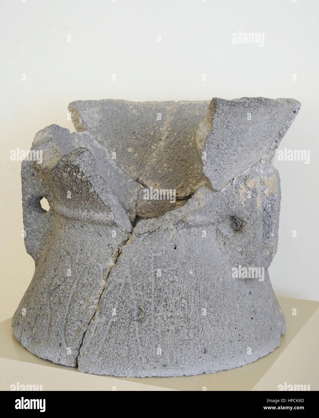 Roman era. Animal traction mill (catillus). Volcanic rock.1st century BC-1st century AD. National Archaeological - Stock Image