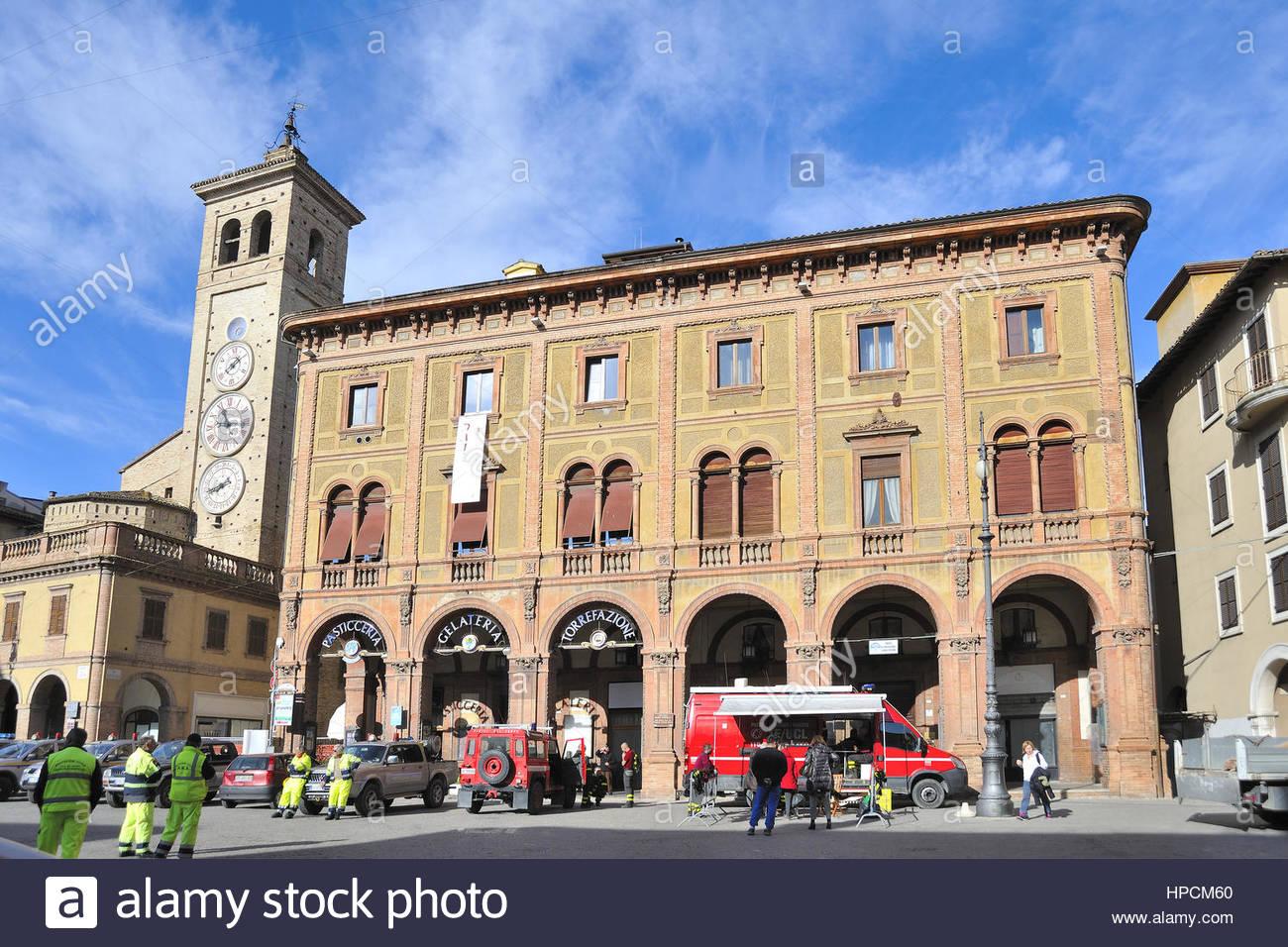 post-earthquake operational core,October 2016,piazza della libertà,tolentino,Italy - Stock Image