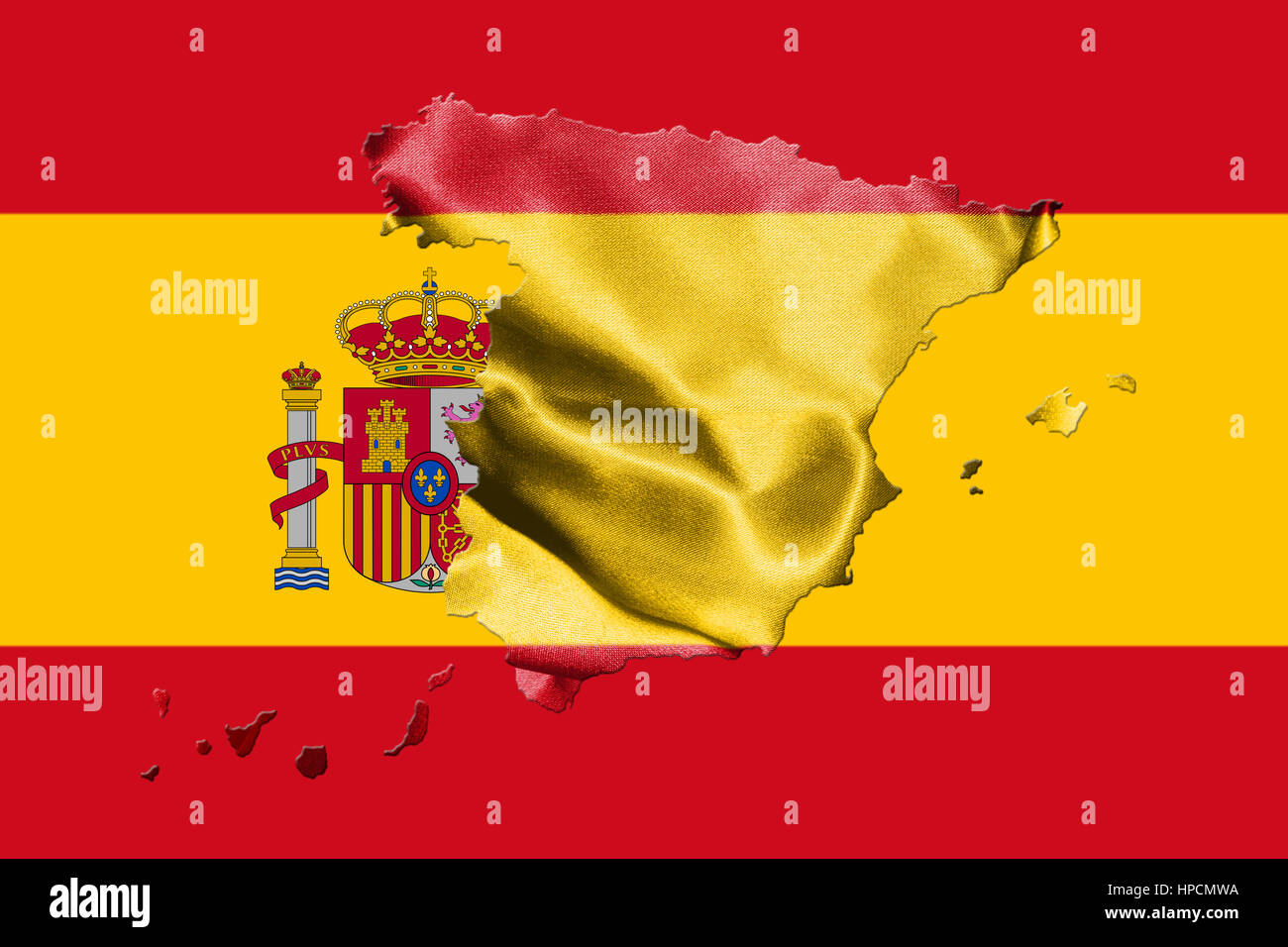 Spain Map Flag.Spanish National Flag With Coat Of Arms And Map Of Spain 3d Stock