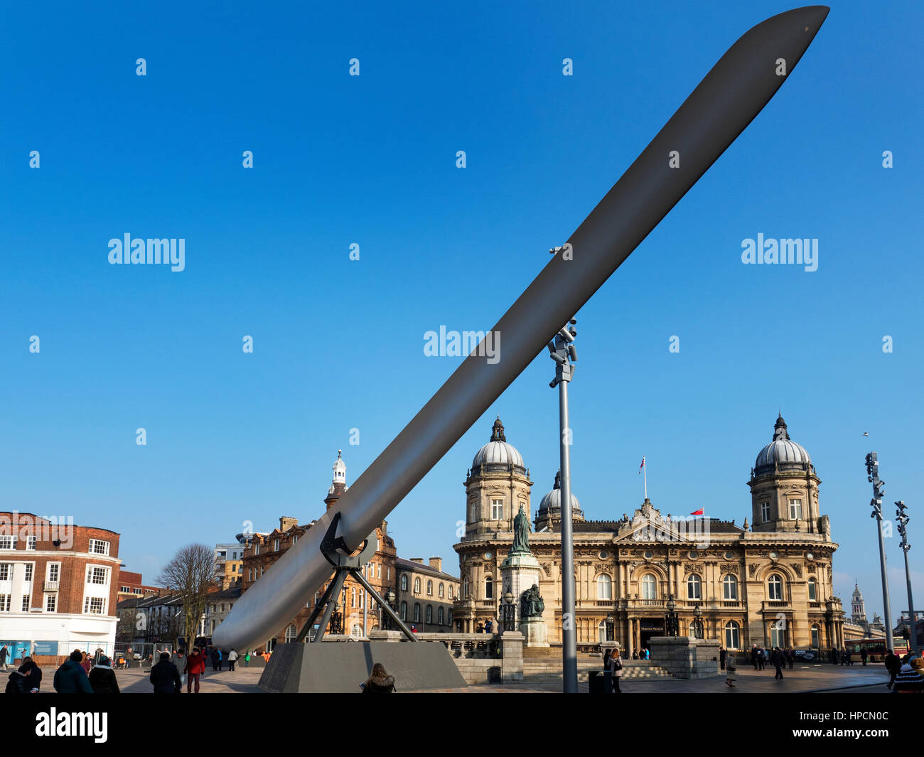Blade Sculpture in front of Maritime Museum in Queen Victoria Square for Hull UK City of Culture 2017 Hull Yorkshire - Stock Image