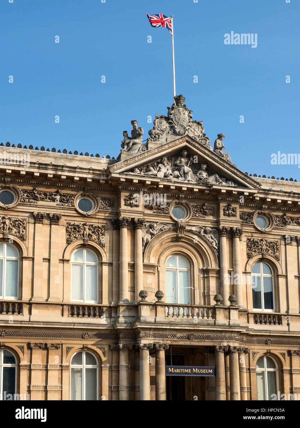Union Jack Flying over Maritime Museum in Old Victorian Dock Offices at Queen Victoria Square Hull Yorkshire England - Stock Image