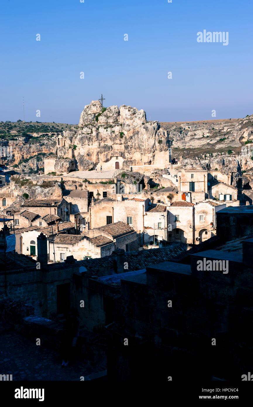 Italy,Basilicata,Matera,cityscape of Sasso Caveoso with Santa Lucia alle Malve church Stock Photo